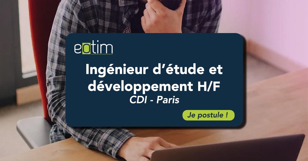 Ingénieur d'étude et développement logiciel H/F